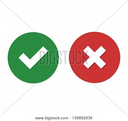 Flat icon checkmark with shadow and close with shadow
