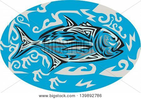 Tribal art style illustration of a giant trevally Caranx ignobilis also known as giant kingfish lowly trevally barrier trevally or ulua a species of large marine fish in the jack family Carangidae viewed from the side inside oval shape set on isolated bac