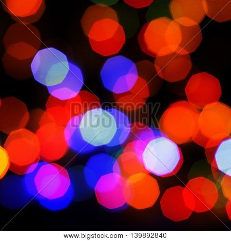 festive evening blurred multicolored lights / light night party