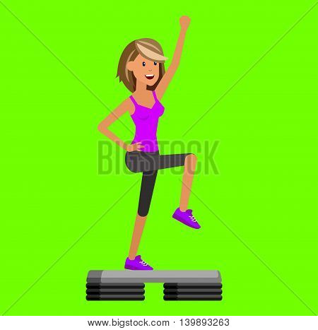 Vector detailed character Fit woman and step fitness workout. Happy and sporty girl