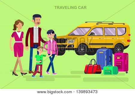 Vector detailed character people. Family summer holiday travel on car