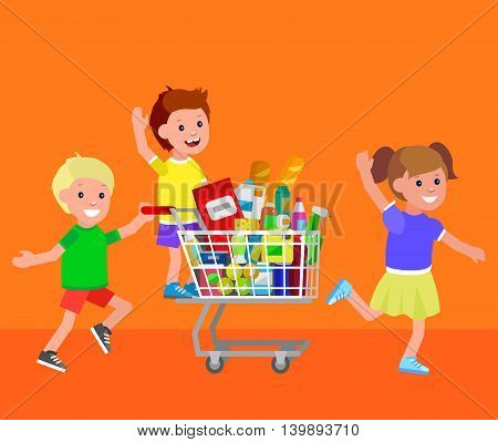 Concept illustration for Shop, supermarket. Vector character kid playing together, riding shopping cart. Healthy eating and eco food