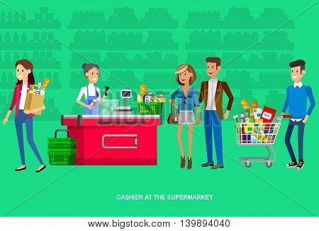 Concept illustration for Shop. Vector character woman cashier in supermarket. Healthy eating and eco. Vector cash register and buyer
