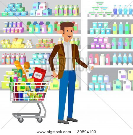 Concept illustration for Shop, supermarket. Vector character man chooses products in supermarket. Healthy eating and eco food