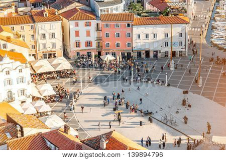 Piran, Slovenia - May 7, 2016: Top view on Tartini square in Piran town. Piran is one of Slovenia's major tourist attractions.