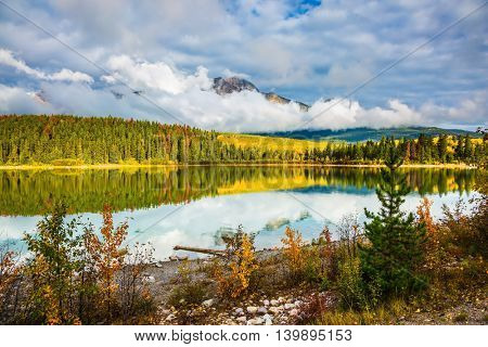 Charming Patricia Lake amongst the evergreen forests, yellow bushes and mountains. Autumn in Jasper Park