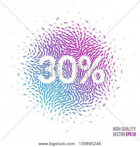 Sale 30 beautiful design element for greeting card template layout with moving particles and swirl explosion effect for shopping, advertisement banner, special offer and store. Blue, purple vector.