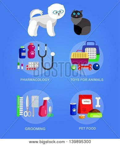 High quality veterinary object and icons set for pet shop. Pets accessories and vet store, grooming tools, veterinary pharmacy