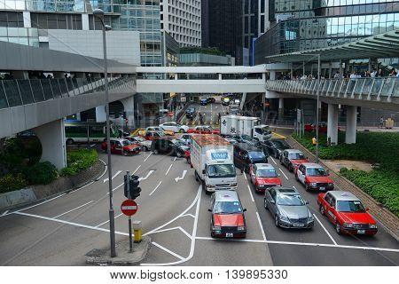 HONG KONG - NOV 9: Connaught Place at the center of Central on Nov 9, 2015 in Hong Kong Island, Hong Kong. Connaught Place is the busiest area in Hong Kong Island.