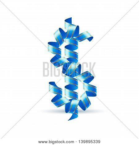 US dollar sign made of spiral sky blue ribbon.