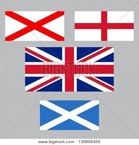 United Kingdom collection of flags. England, Northern Ireland, Scotland.