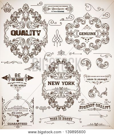 set of design elements: page decoration and baroque frames