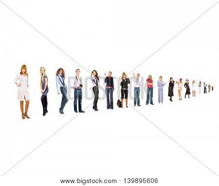 Line of Colleagues Team over White