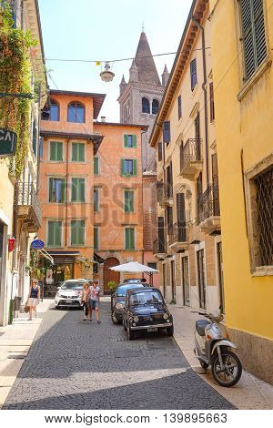 VERONA, ITALY - JULY, 2, 2016: Car parking in a center of Verona, Italy