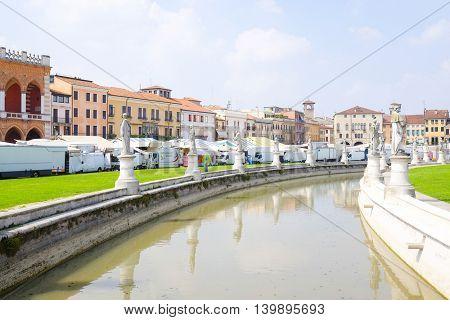 PADOVA, ITALY - JULY, 9, 2016: channel around Prato della Valle in a center of Padova, Italy