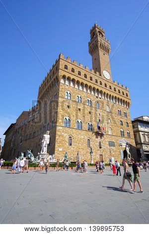 Florence, Italy, June, 25, 2016: Palazzo Vecchio - one of the famoust buildings in Florence, Italy