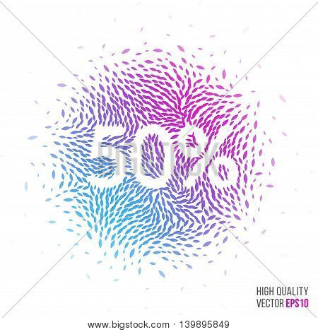 Sale 50 beautiful design element for greeting card template layout with moving particles and swirl explosion effect for shopping, advertisement banner, special offer and store. Blue, purple vector.