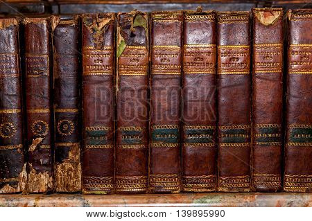 Spain Palm de Mallorca of June 20 Old book with worn covers June 20 2016 in Palm de Mallorca Spain