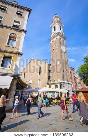 Venice, Italy, June, 21, 2016: people in a street of Venice, Italy