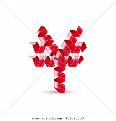 Symbol of yen is made of red curly ribbons.