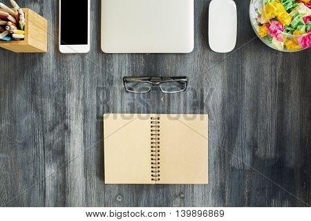 Desktop With Open Notepad