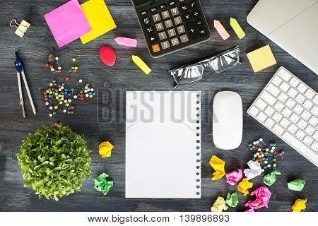 Messy Desktop With Paper Sheet