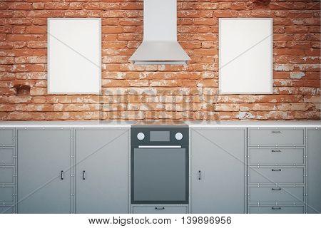 Black Kitchen With Frames