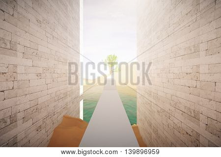 Risky road to success. Dangerous concrete path with obstacles to large green tree. 3D Rendering