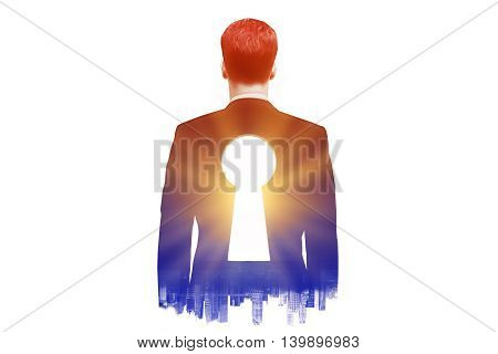 Businessman with keyhole in his back on dark city background with sunlight. Double exposure