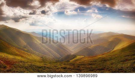 Panoramic From Polonina Borzava (carpathians, Ukraine 2016)