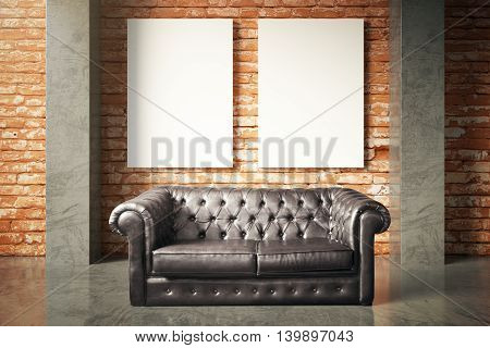 Luxurious black leather sofa and two blank posters on red brick wall background. Mock up 3D Rendering