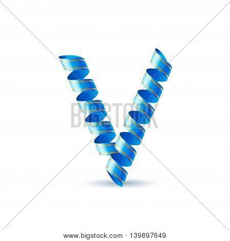 Letter V made of blue curled shiny ribbon