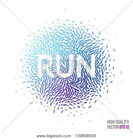 Run beautiful design element for greeting card template layout with moving particles and swirl explosion effect for sport, running event, marathon and fitness. Blue, purple vector.