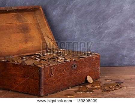 Wooden Chest Filled With Old Copper Coins