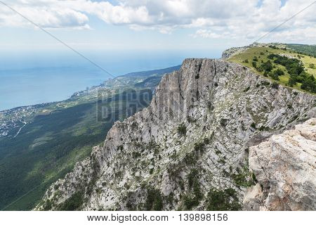 View from mountain to the Black Sea coastline.
