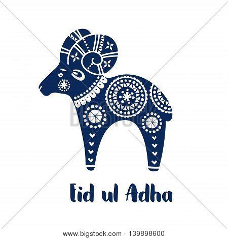 Greeting card with hand drawn sheep and decorative ornaments. Artistic vector illustration background for Eid Ul Adha muslim holiday. Eid Mubarak invitation.