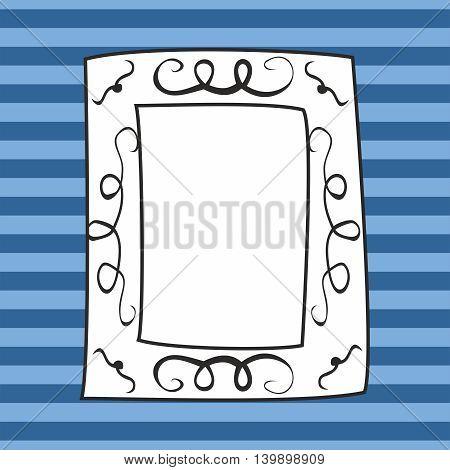 Vector photo frame on blue stripes background
