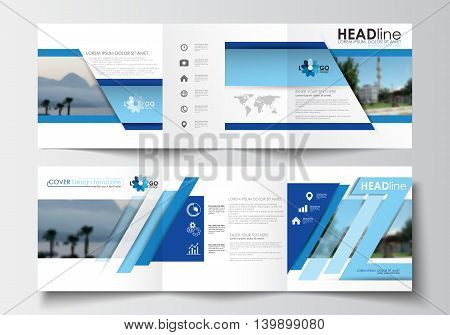 Business templates for tri-fold brochures, square design, annual report. Leaflet cover, easy editable blank, abstract blue layout, vector illustration.