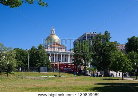 BOSTON,MASSACHUSETTS,USA - JULY 2,2016:The clear picture of the Massachusetts State House under the blue sky.It is the state capitol and seat of government for the Commonwealth of Massachusetts.
