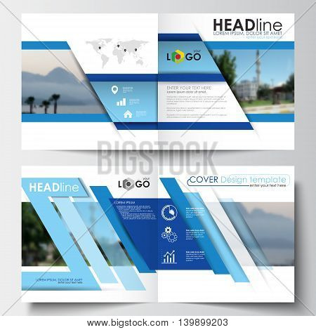 Business templates for square design brochure, magazine, flyer, booklet or annual report. Leaflet cover, easy editable blank, abstract layout, vector illustration.