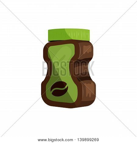 Coffee glass jar package icon in cartoon style isolated on white background