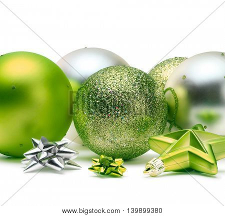 green and silver Christmas balls