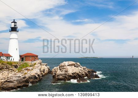 Cape Elizabeth Maine USA: July 6 2016: Locked down view of Portland Head Light (lighthouse) in Cape Elizabeth (Portland suburb) Maine.