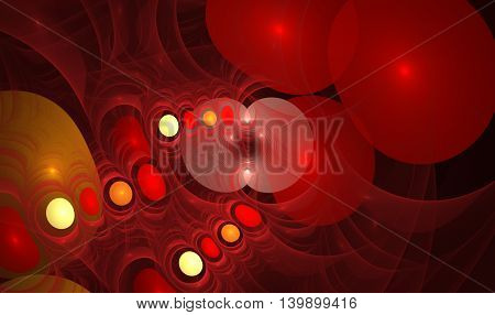 red abstract round curves and lines on black background