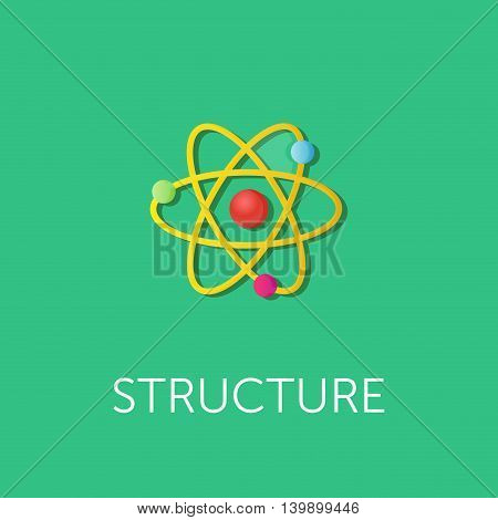 vector illustration of atom structure. Flat style design