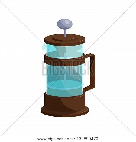 French press coffee icon in cartoon style isolated on white background