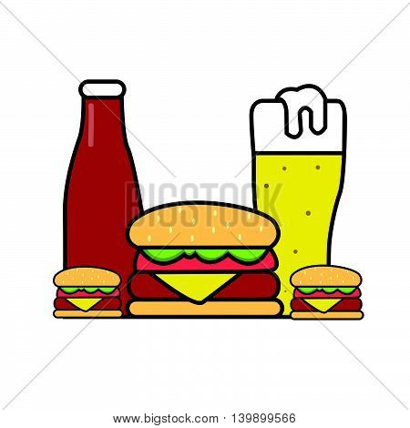 burger beer sauce illustration drawing in line outline style vector