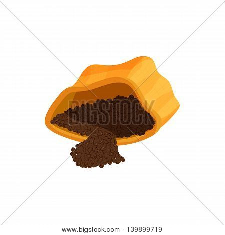 Coffee powder in paper bag icon in cartoon style isolated on white background