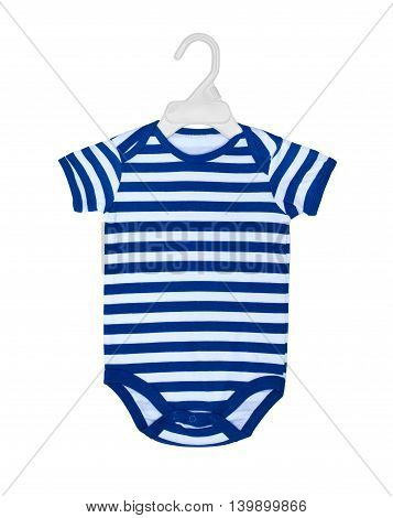baby bodysuit on hanger for clothes isolated on white