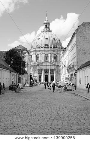 COPENHAGEN, DENMARK - JULY 13, 2016: Frederik's Church, also known as the Marble Church and castle Amalienborg, Copenhagen, Denmark